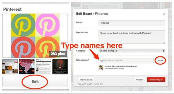 Add people to your Pinterest group board