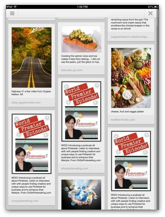 Pinterest mobile app on iPad