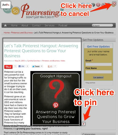 Shot Pin for pages with no pinnable images for Pinterest