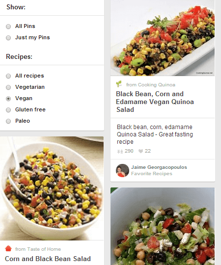 Pinterest recipe search categories
