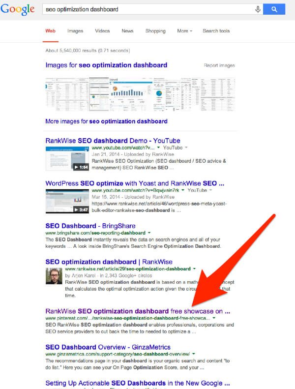 seo optimization dashboard Google Search