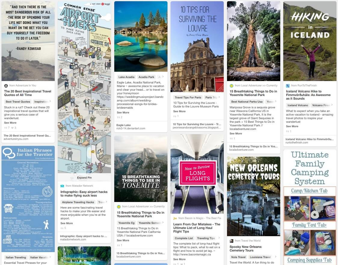 Trending in the Travel Category of Pinterest in October