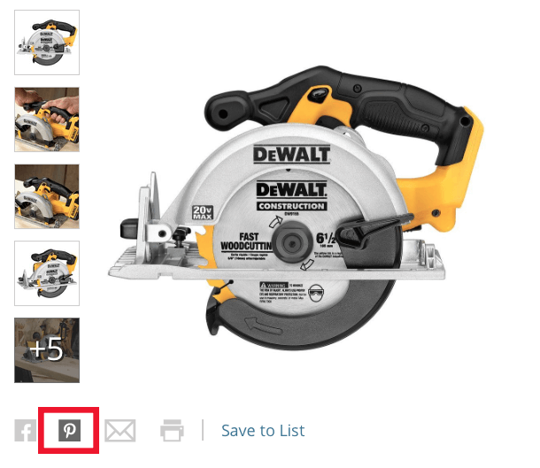 Home Depot uses Pinterest buttons on their website.