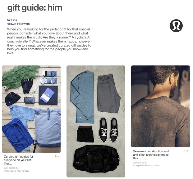 Lululemon uses guide guides for promoting their business on Pinterest.