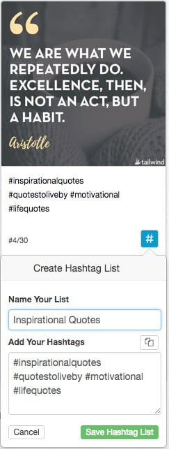 Tailwind for Instagram Hashtag Lists