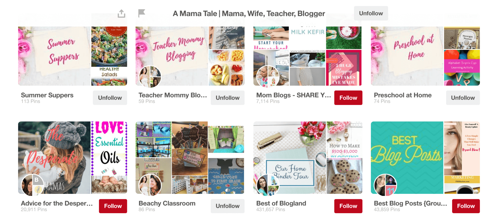 Pinterest Group Boards Printscreen