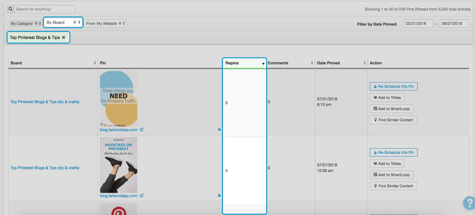 Check your group board Pins in Tailwind Pin Inspector
