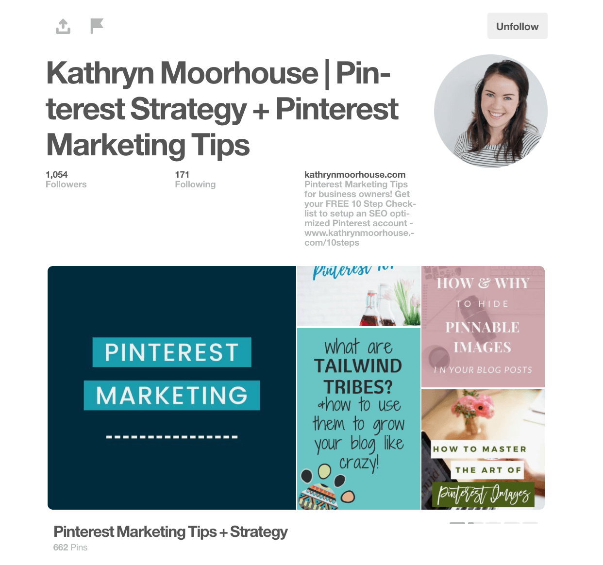 Example of a good Pinterest profile!