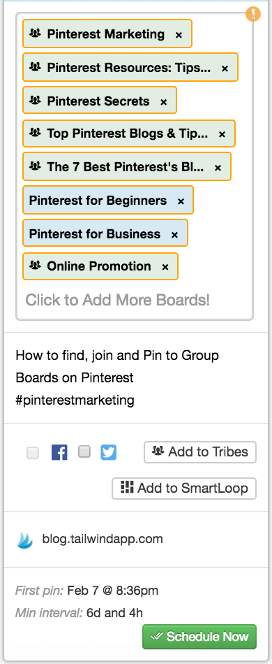 Use board lists and interval Pinning to save time scheduling your content to all applicable boards.