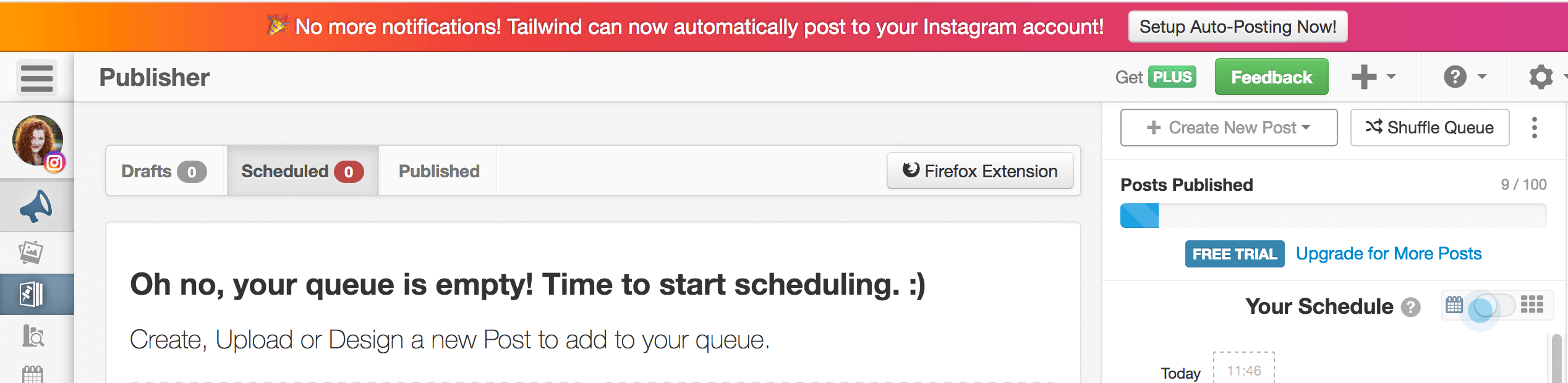 Banner Showing Set up Auto Posting to Instagram with Tailwind Now