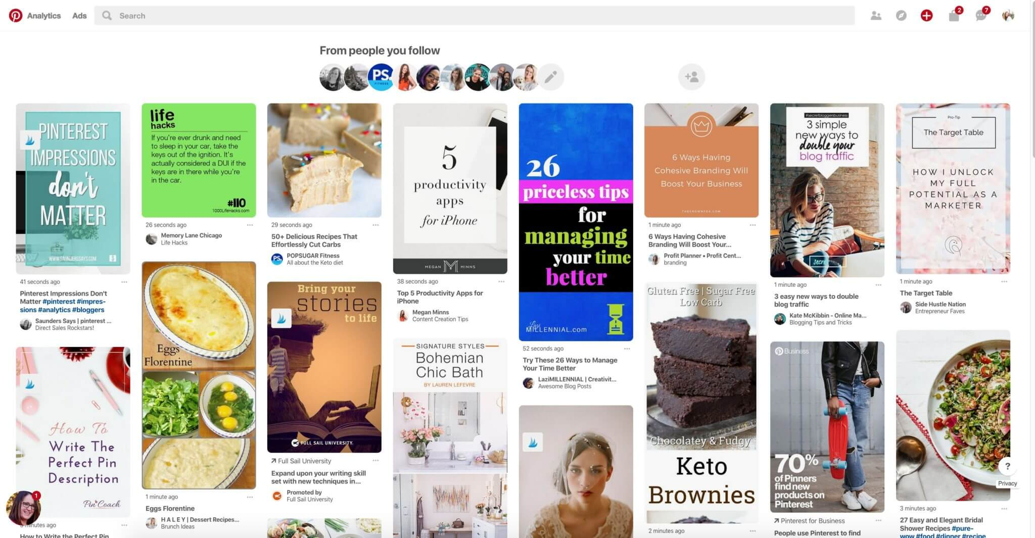Printscreen of Pinterest's Follower Tab