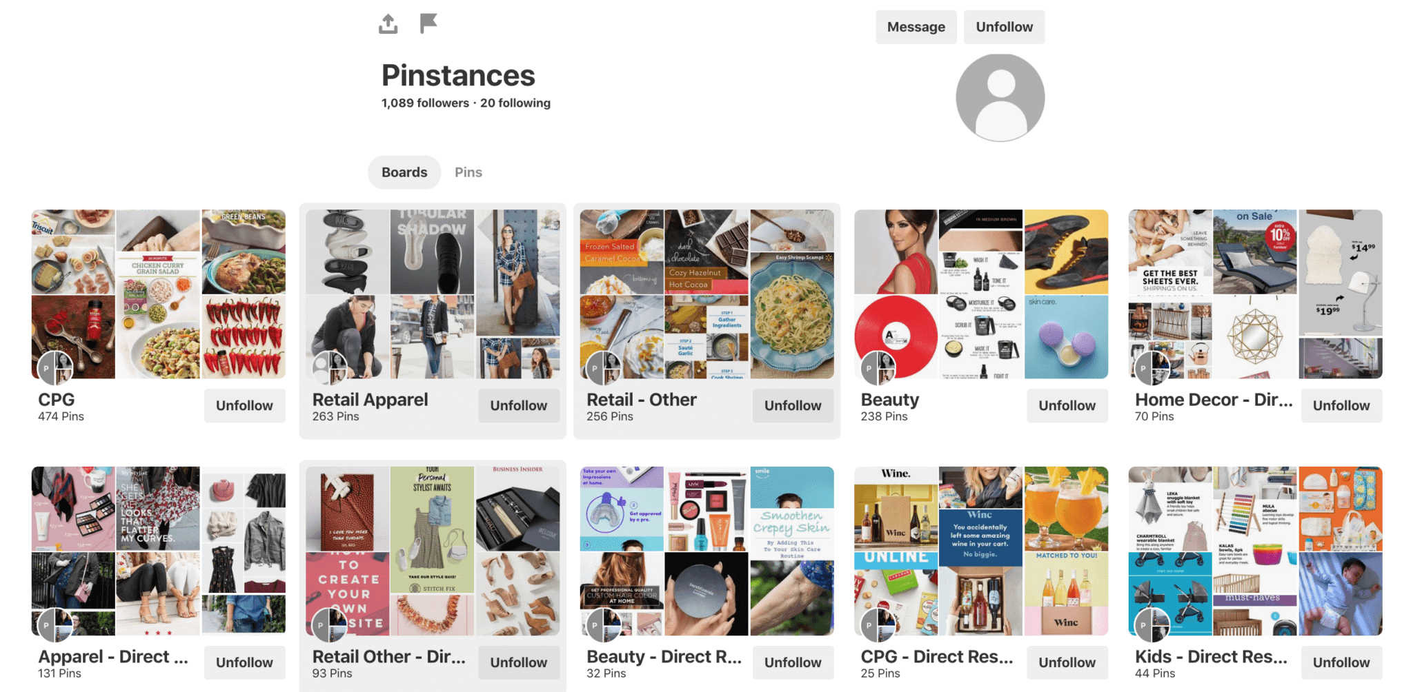 Pinstances Pinterest account