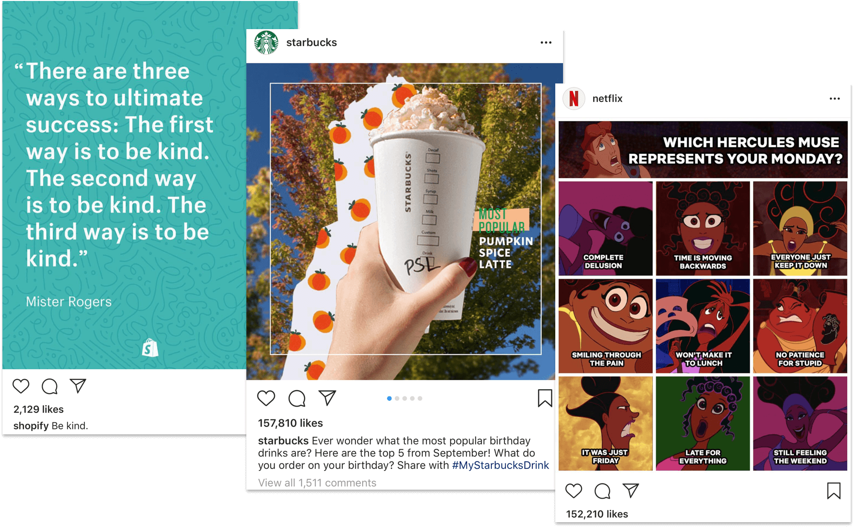 Instagram Images by Shopify, Starbucks and Netflix