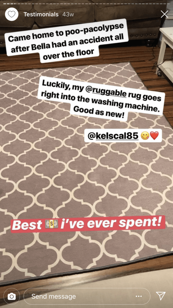 Ruggable uses customer testimonials for their Instagram Stories
