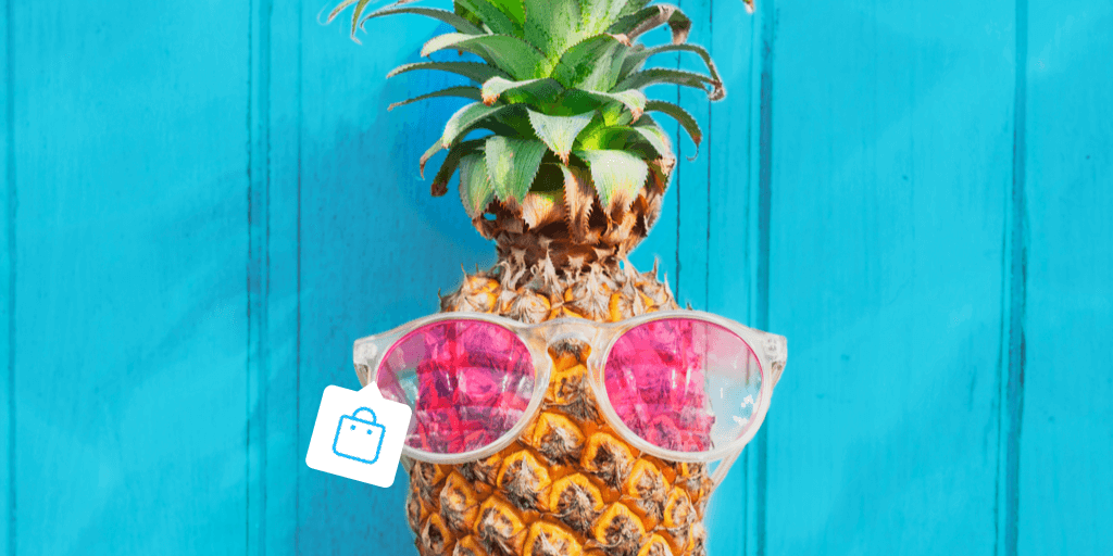 Header image - pineapple with sunglasses and Instagram Story product tag