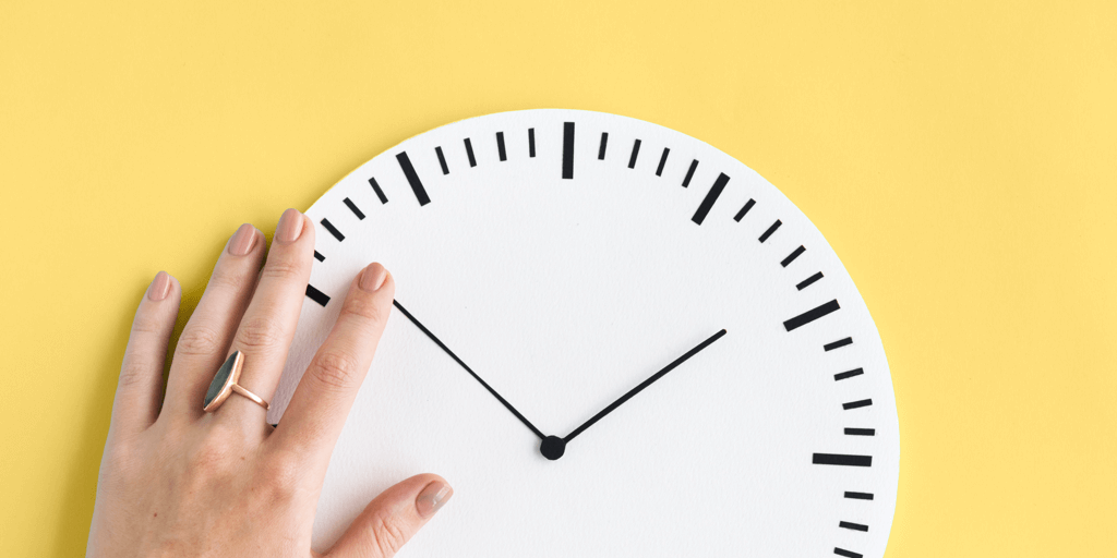 Hand and Clock - blog post header - How to schedule Pins to Pinterest