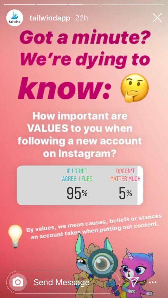 Instagram Stories survey on brand values when following new instagram accounts