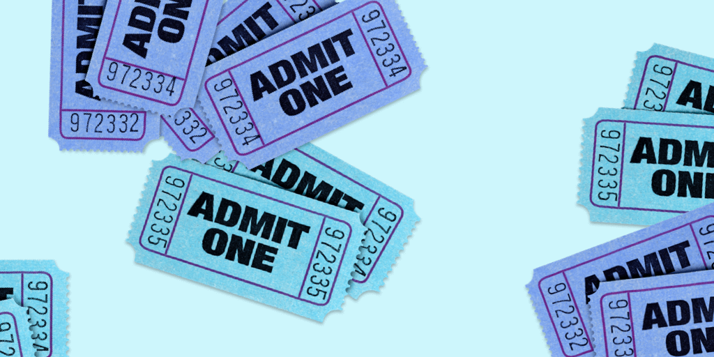 blue and purple tickets on a blue background - how to add the buy tickets button on Instagram header image