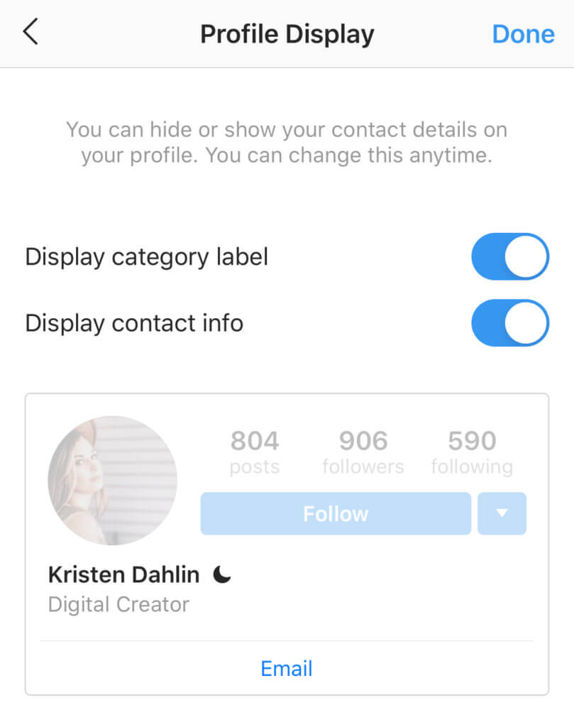 The Profile Display section allows you to toggle Display contact info on and off, allowing you to hide contact information.