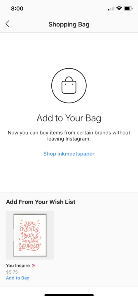 Prompt to add wish list items to your Instagram shopping bag