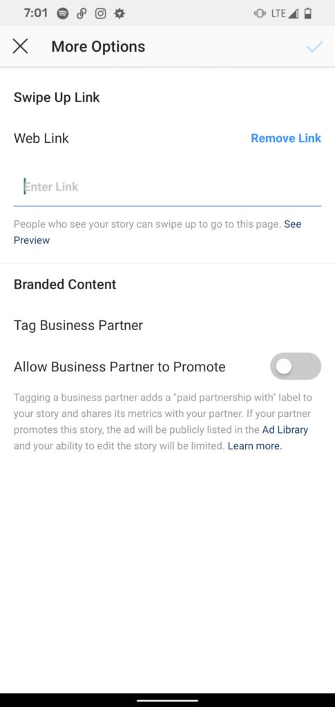 Ajouter un lien vers les histoires Instagram