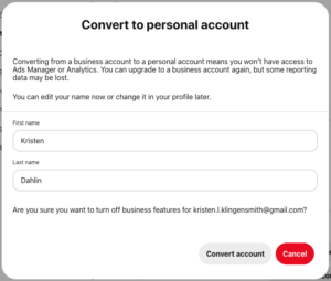 how to switch back from a business account on pinterest