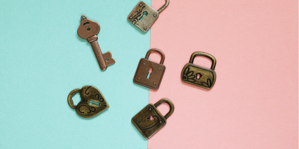 keys and locks on a blue and pink background