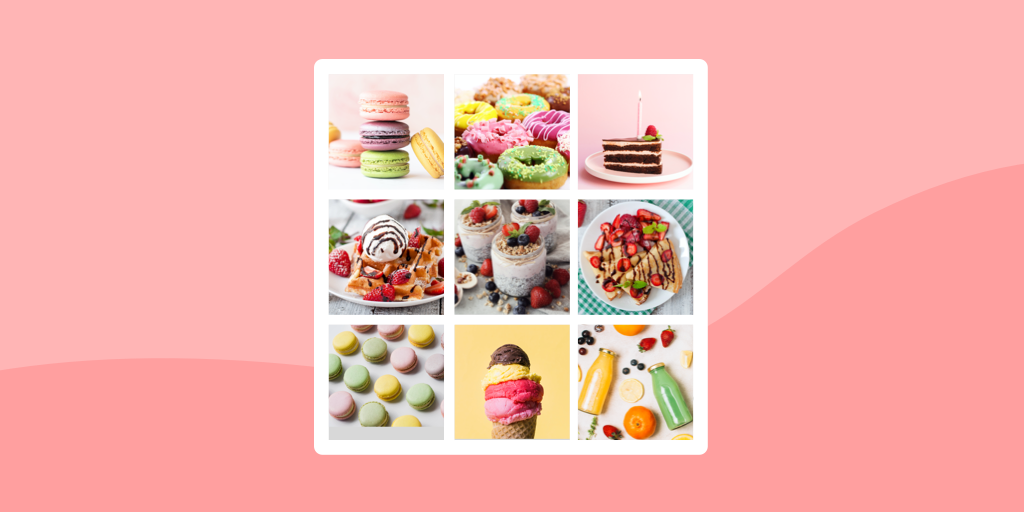 Photo split into grid for Instagram on pink background