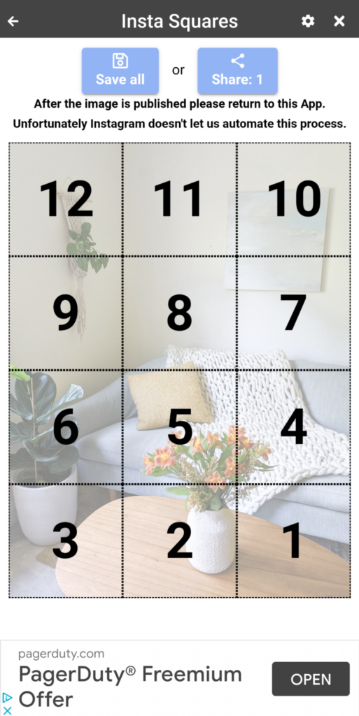grid preview in instant squares