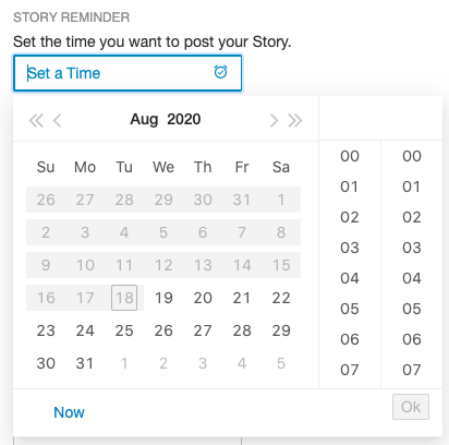 Select the time you want to post your Story in Tailwind Dashboard
