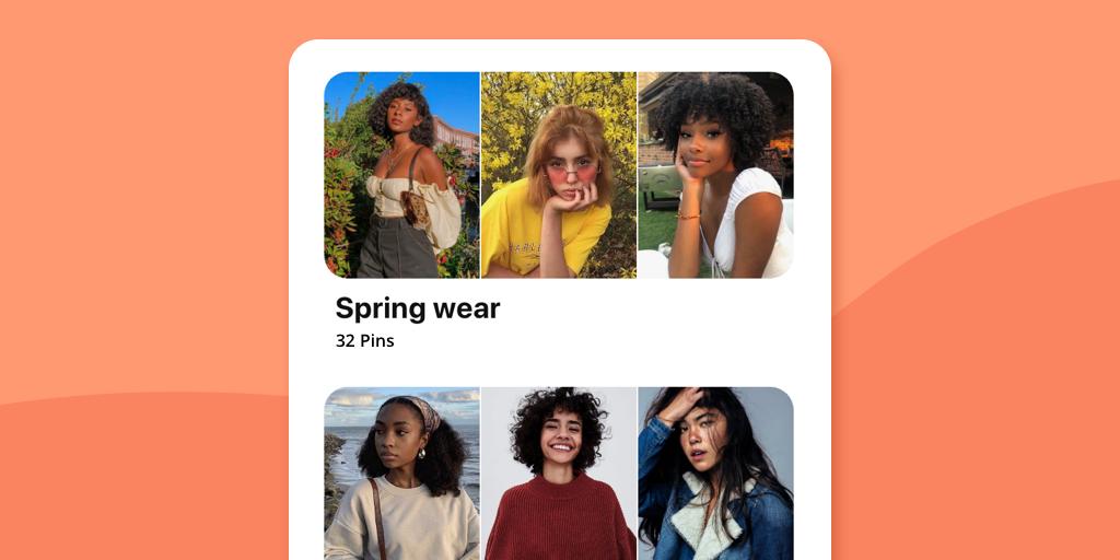 Pinterest Board Sections on orange background