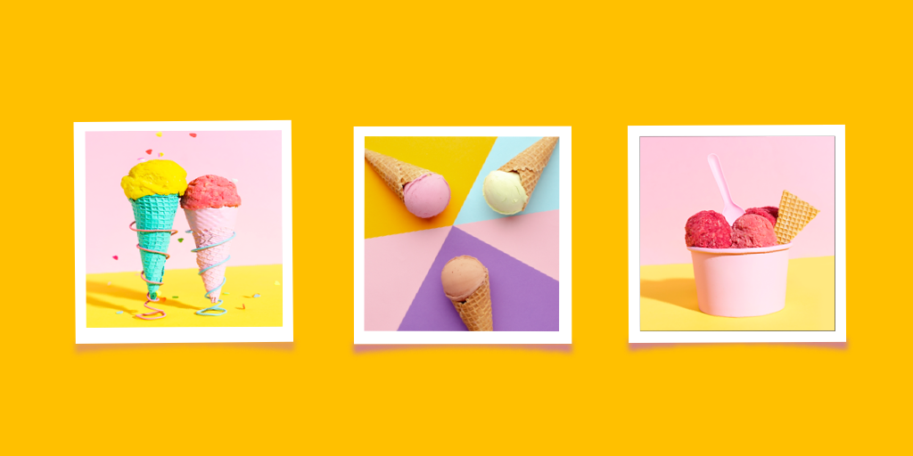 Instagram 3 pictures in a row of ice cream on yellow background