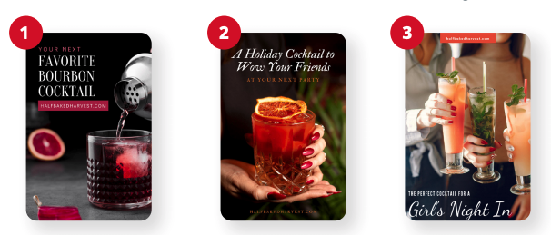 How to reach a different audience and appear in different search results on Pinterest - three examples reaching bourbon drinkers, holiday party hosts, and couples planning a wedding.
