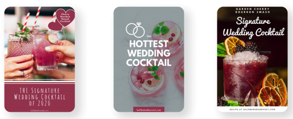 When creating Pin images, try a few very different styles and then watch what people like. One is two women toasting with colorful drinks, another is a top-down shot of drinks with