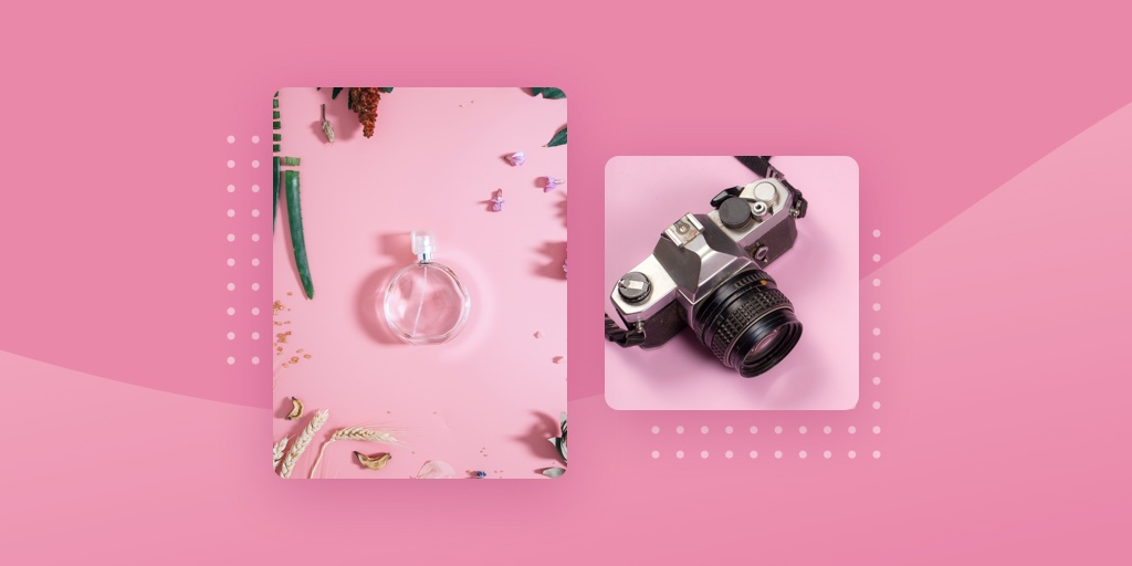 Brand photos of perfume and camera on pink background