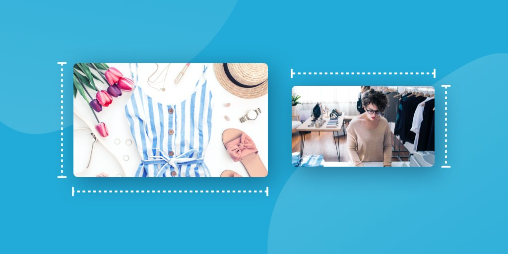 Facebook image sizes and dimensions examples on blue background