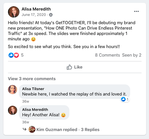 Facebook post from group moderator teasing a new presentation in Facebook Group for business.