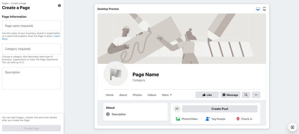 Preview of creating a new Facebook page