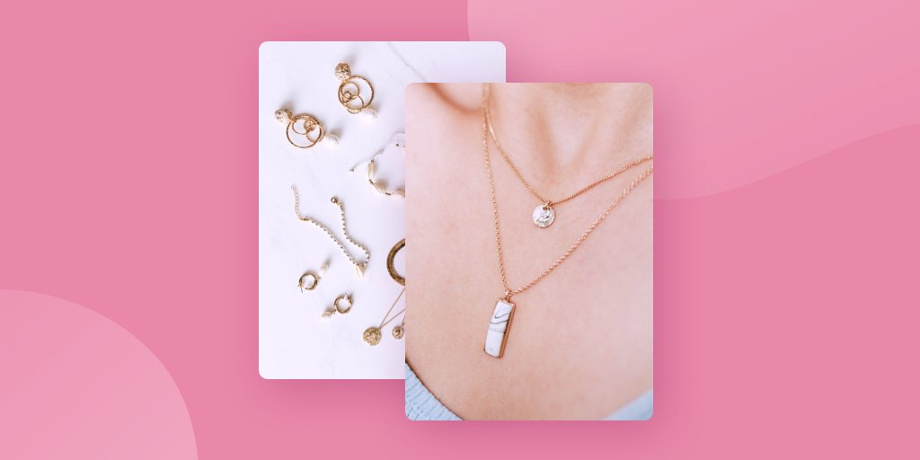 Image of flat lay of earrings and a close up shot of a woman wearing jewelry as examples of ecommerce product photos