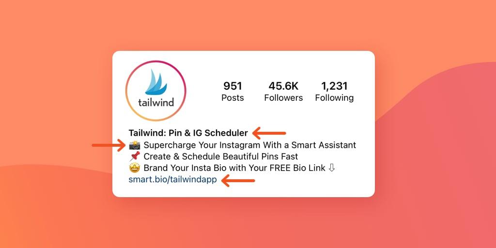 Tailwind Instagram Bio on orange background