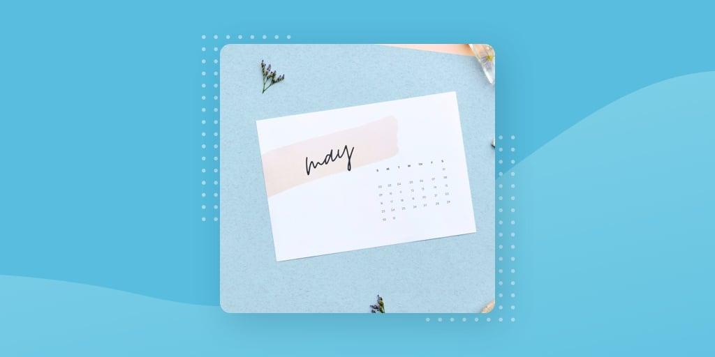a May marketing calendar on a blue background