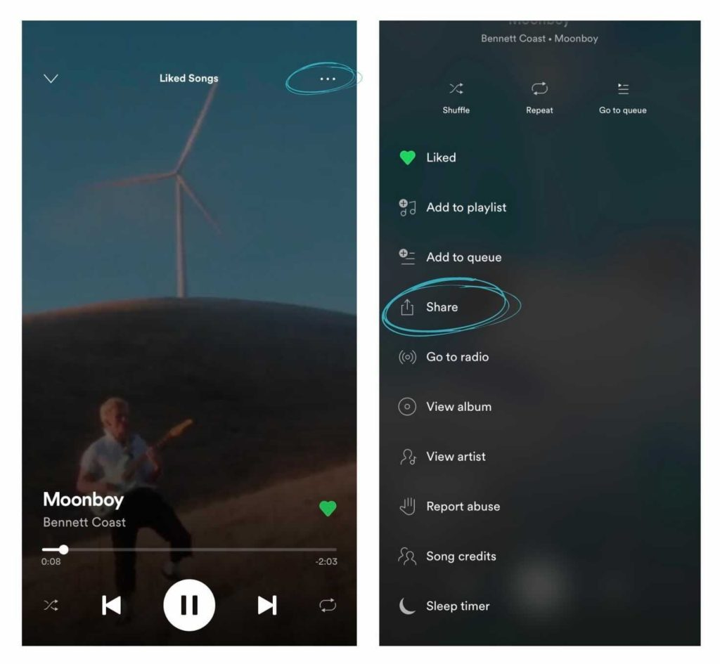 Sharing Music to Instagram from Spotify