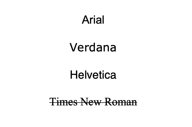 Sans Serif font examples above a Serif font example of Times New Roman.