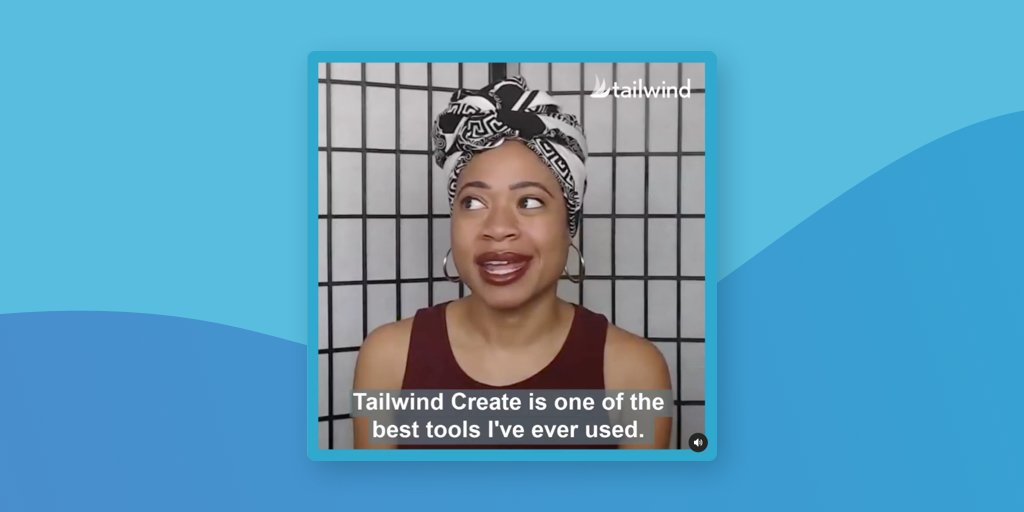 A screenshot of a Tailwind customer video with captions on it on blue background