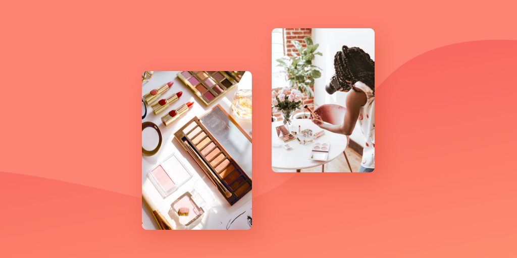 An image of a photographer creating product photography flatlays of makeup on an orange background.